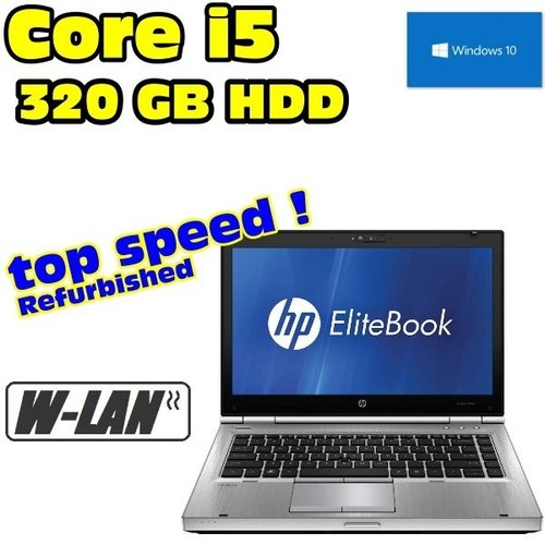 "HP Core i5 EliteBook Laptop DVD 4GB RAM 320GB HDD WLAN 36cm (14"") Windows10 Pro"